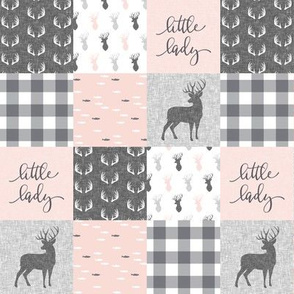 "(2"" scale) little lady woodland wholecloth patchwork - light pink &  grey C18BS"
