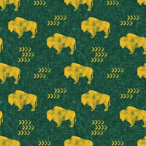(small scale) distressed buffalo on green  linen - gold C18BS