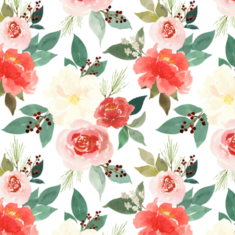Festive Floral fabric by mintpeony on Spoonflower - custom fabric