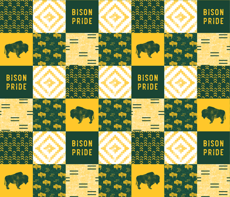 Bison Pride Patchwork - buffalo on green  linen - gold C18BS fabric by littlearrowdesign on Spoonflower - custom fabric