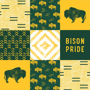 Bison Pride Patchwork - buffalo on green  linen - gold C18BS