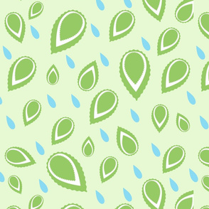 Green leaves raindrops Fresh design