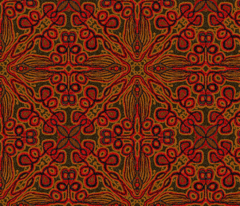 Loopy tulip, Woodcut, Red fabric by palifino on Spoonflower - custom fabric