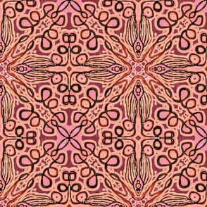 Loopy tulip, Woodcut, Pink