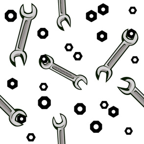 Nuts and Wrenches on White