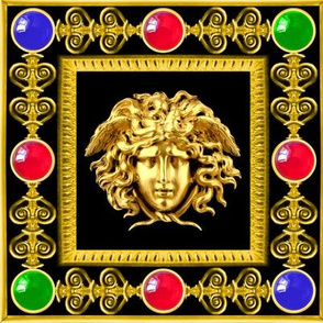 1 versace inspired medusa gold baroque victorian black filigree gems jewels ruby sapphire emerald red blue green frames gorgons Greek Greece  mythology