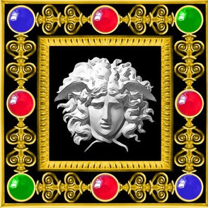 2 versace inspired medusa gold baroque victorian black white marble filigree gems jewels ruby sapphire emerald red blue green frames gorgons Greek Greece mythology