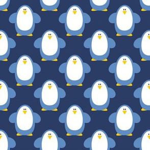 Blue penguins on blue