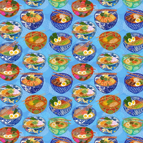 Ramen Mania with Blue mum background