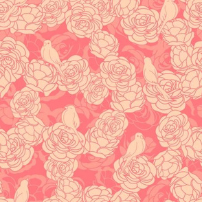 Birds on Roses Pink Yellow Pattern