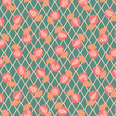 Green  Heart Cactus  with Flower on Argyle fabric by agnessomogyi on Spoonflower - custom fabric