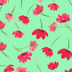 green poppies pattern