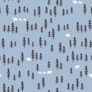 Polar bears in the woods on blue