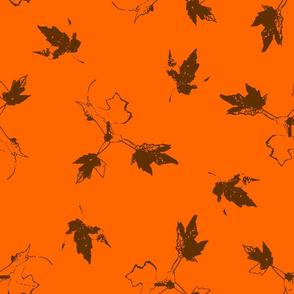 Brown Maple Leaves on Orange