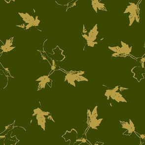 Taupe Maple Leaves on Green