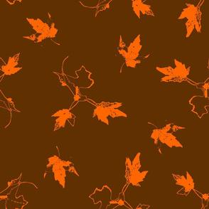 Orange Maple Leaves on Brown