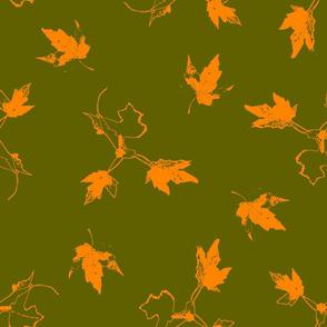 Orange Maple Leaves on Green