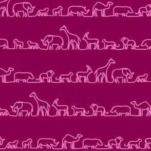 Safari Outlines on Pink