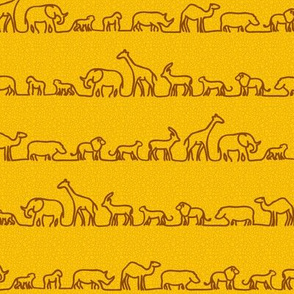 Safari Outlines on Mustard