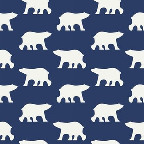 White bears on navy