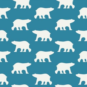 White bears on petrol blue