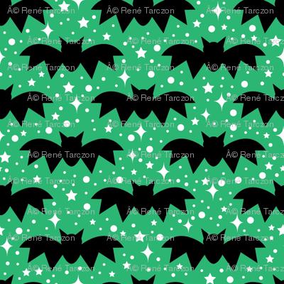 aloha bats on green with sparkles
