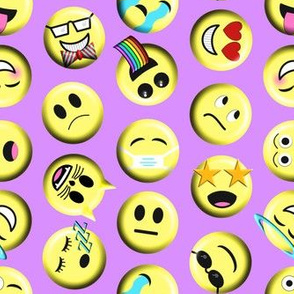 Emojis on purple without poop emoji large scale