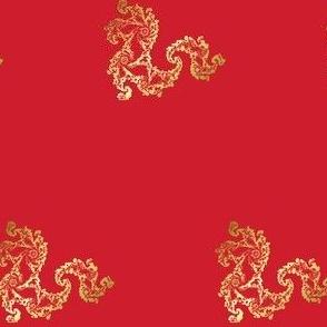 Gold Fractal Dragon on Red