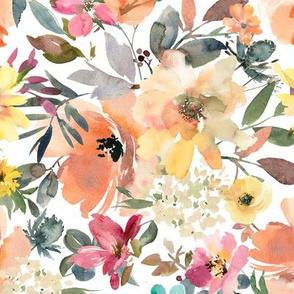 peach floral white