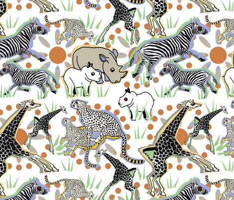 Safariville white fabric by lorloves_design on Spoonflower - custom fabric