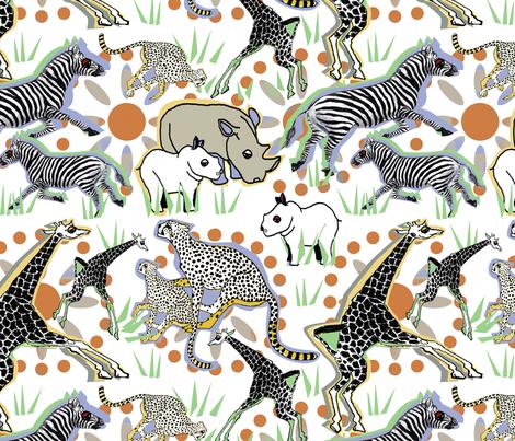 African Safari Animals 2 fabric by lorloves_design on Spoonflower - custom fabric