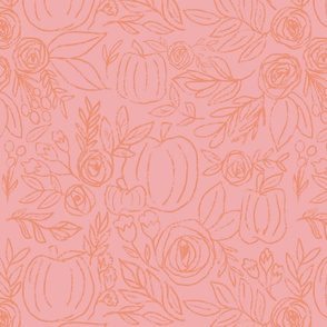 Pumpkin Spice Fall Floral Pink and Coral