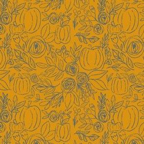Navy Mustard Pumpkin Spice Fall FLoral OUtline