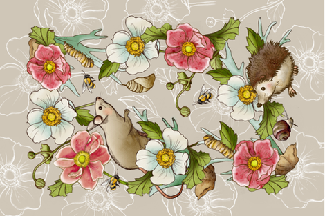 Meadow Animals Tea Towel fabric by shalaetippetts on Spoonflower - custom fabric