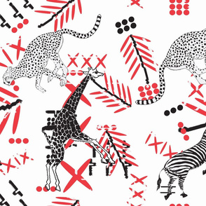 african animals with  tribal red2