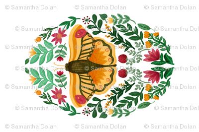 The Orange Moth Tea Towel