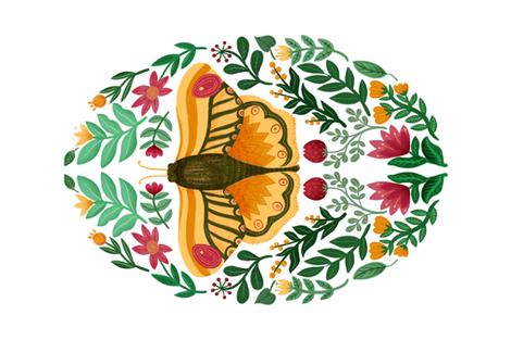 The Orange Moth Tea Towel fabric by samantha_dolan on Spoonflower - custom fabric
