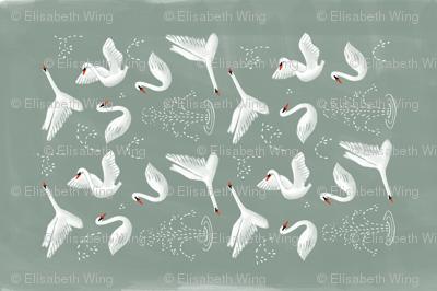 swans tea towel
