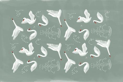 swans tea towel fabric by wingmade on Spoonflower - custom fabric