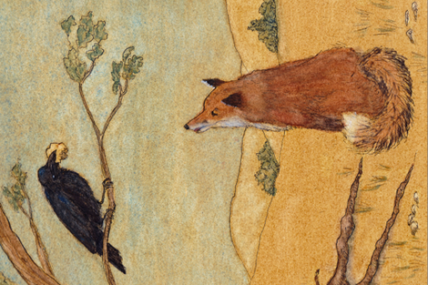 Fox and  Crow Fable fabric by shinypennyshop on Spoonflower - custom fabric