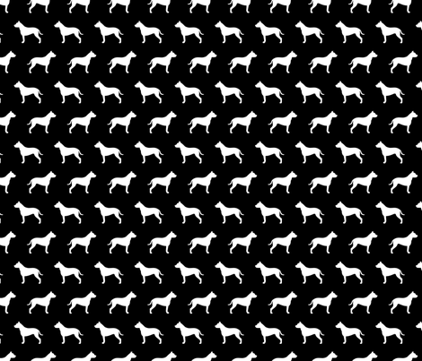Pit Bull Silhouette on Black fabric by mariafaithgarcia on Spoonflower - custom fabric