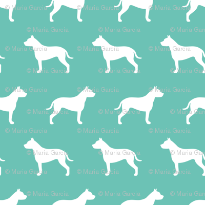 Pit Bull Turquoise Silhouette