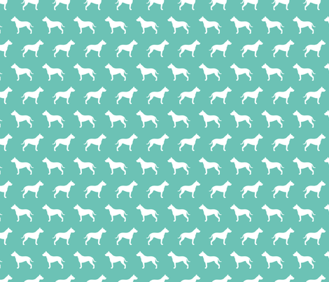 Pit Bull Turquoise Silhouette fabric by mariafaithgarcia on Spoonflower - custom fabric