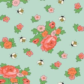 Vintage Floral with Bees