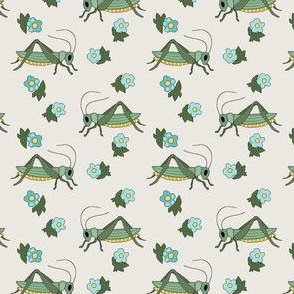 Vintage Grasshoppers and Forget-me-nots