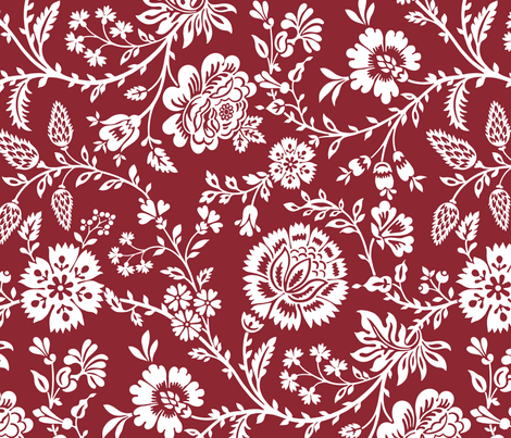 Olivia in white on mulberry red  fabric by incognitoshop on Spoonflower - custom fabric