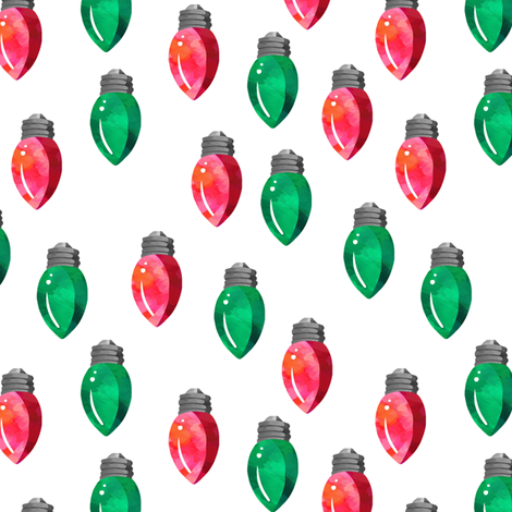 """6"""" Christmas Lights // Red and Green // White fabric by hipkiddesigns on Spoonflower - custom fabric"""