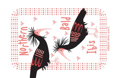 Northern Bald Ibis fabric by lynnbishopdesign on Spoonflower - custom fabric