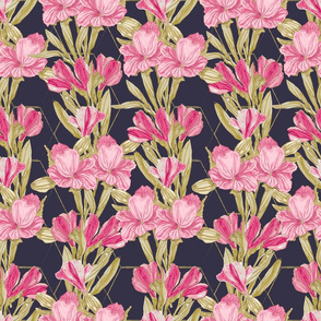 Lilies Vertical Repeat on Navy