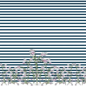 garden stripe navy  - crepe myrtle blues